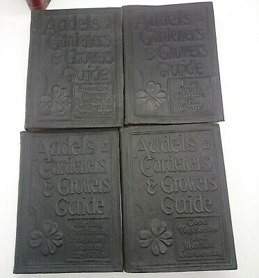 1928 Four Volume Set of Audels Gardeners & Growers Guide First Edition Leather Four Volume Set