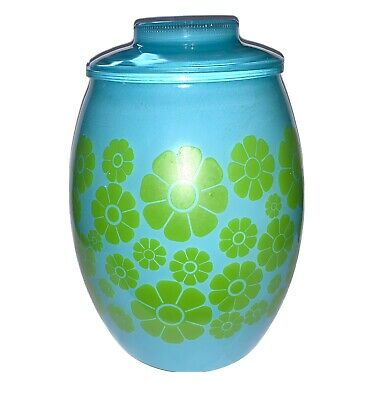 VTG Bartlett Collins HTF Turquoise Blue Green Daisy Flower Power Cookie Jar
