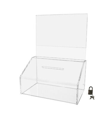 Acrylic Locking Ballot Suggestion Box With Sign Holder Header