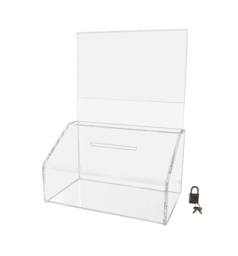 Acrylic Locking Ballot / Suggestion Box with Sign Holder Header