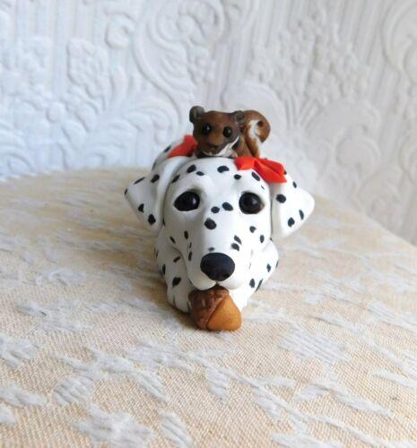 Dalmatian & Squirrel friend Sculpture Clay by Raquel at theWRC