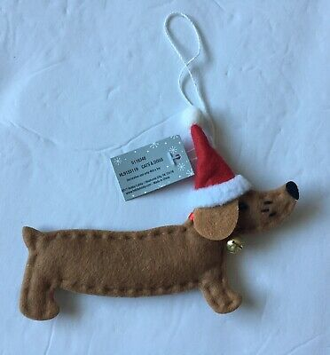 Dachshund Dog Christmas Holiday Ornament NEW Brown Doxie Wiener Dog Santa Hat Dog Christmas Holiday Ornament