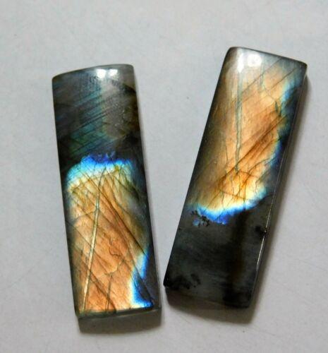 52.40 Cts Natural Labradorite (38.7mm X 13mm each) Cabochon Match Pair