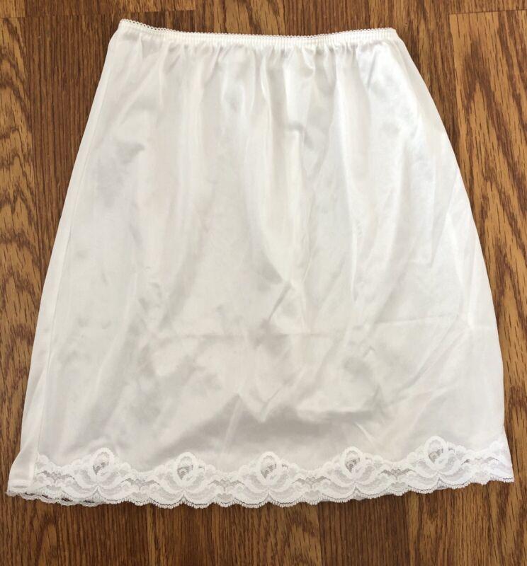 "Vintage 80s 90s Girls Small 7/8 White Silky Lace Trim Slip Skirt Fits Waist 32"""