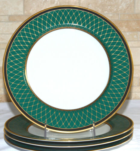 """Fitz & Floyd Chaumont * 4 DINNER PLATES * 10 3/8"""", Teal Green, Mint Condition!"""