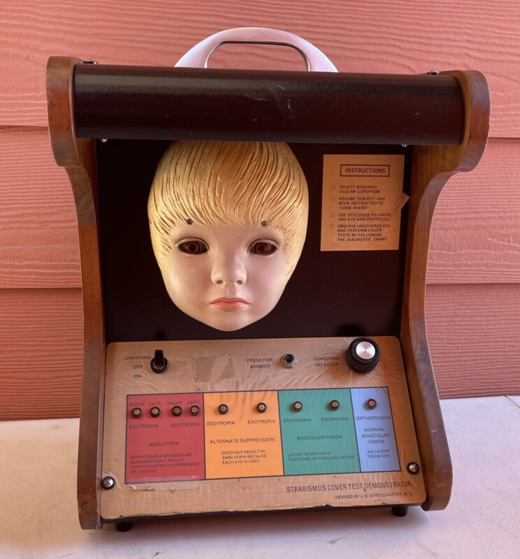 Vintage Quack ? Doctor Strabismus 3D Face Eye Condition Tester Device Machine