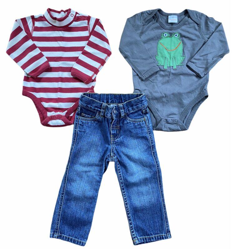 Hanna Andersson Boys Lot 18-24 Months 80 cm Bodysuit Shirt Jeans 3 Piece Bundle