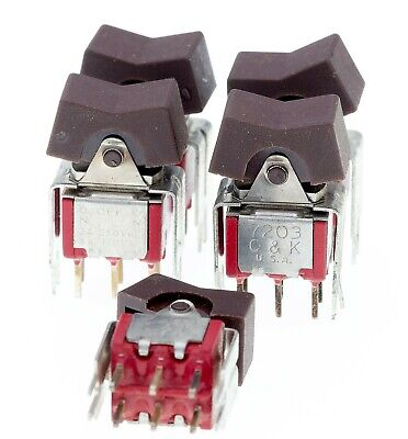 Lot Of 5 - Ck 7203j1v6qe 3 Position Dpdt Rocker Switch Pcb Mnt On-off-on Brown