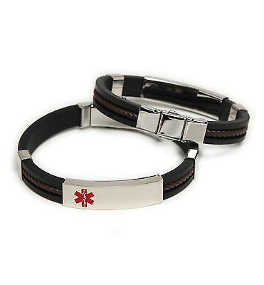 Medical Medical Id Bracelet - CLEARANCE! > Unisex Medical ID Rubber/Stainless Bracelet Diabetes or Coumadin