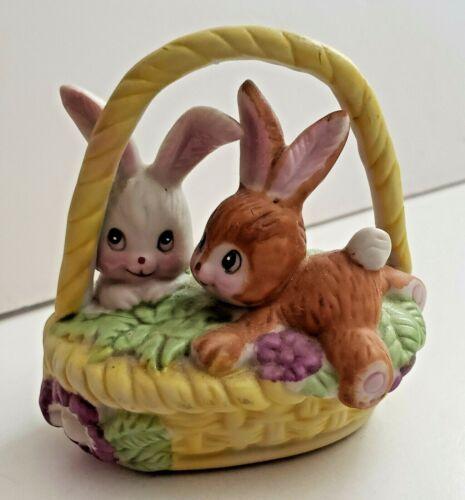 Cute VINTAGE ©1979 RUSS BERRIE & Co. Ceramic Bunnies In A Yellow Basket Figurine