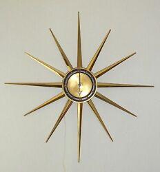Vtg Large 28 Sessions Starburst Wall Clock ~ Mid Century Modern Atomic Sunburst