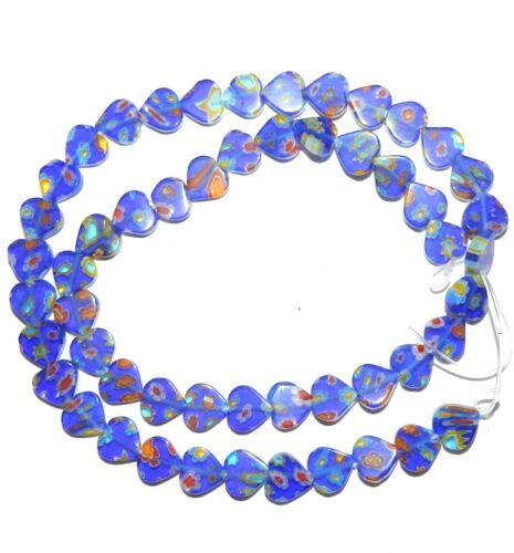"G3471 Cobalt Blue Multiple Color Flower 8mm Flat Heart Millefiori Glass Bead 15"""