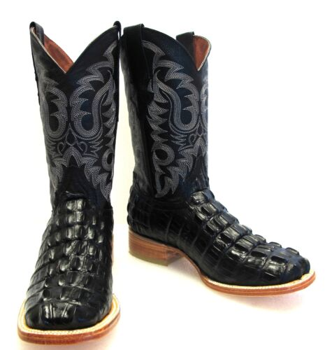 Mens, New, TW, Crocodile, Alligator, Tail, Leather, Cowboy, Western, Square, Boots, Black,
