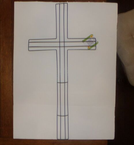 wire wreath cross form frame Easter funeral cemetery 12X23 NWT