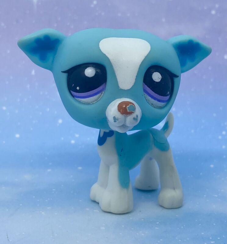 Littlest Pet Shop Authentic # 2526 Htf Blue White Greyhound Purple Eyes