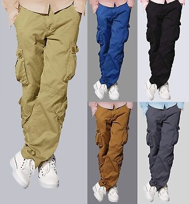 Army Military Pants (Mens Match Cargo Pants Solid Military Army Combat Style Cotton Workwear Trousers)