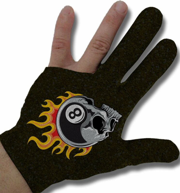 Flaming 8 Skull Billiard Glove