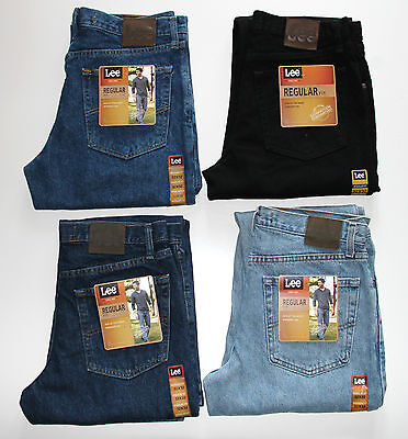 New LEE Jeans Regular Fit Men's Sizes Dark, Light, Pepper Stone, Black - Black Regular Fit Jeans