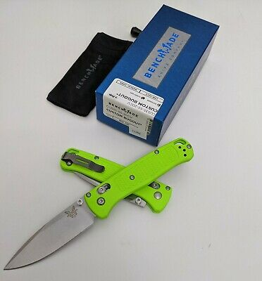 Benchmade - Bugout Neon Green Handle and Satin CUSTOM - CU535-SS-20CV CU52