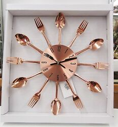 COPPER TONE KITCHEN  WALL CLOCK WITH SPOONS AND FORKS  85522