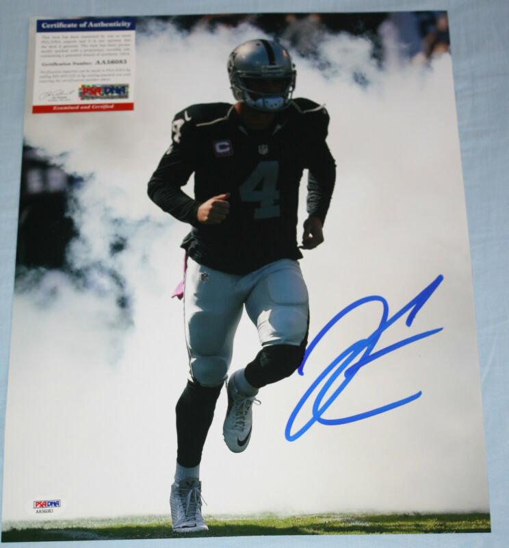 WOW Derek Carr signed 11 x 14, Oakland Raiders, Fresno State, PSA/DNA AA56083