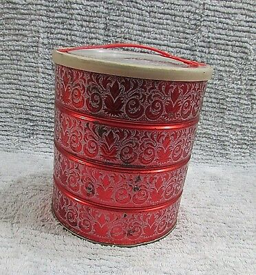 Vintage Rose Red Stencil Pattern Coffee Can w Original Lid and Handle FREE S/H