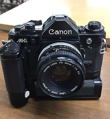 Rare Vintage Canon A-1 35mm SLR Film Camera W/ 50mm 1.8 Lens Motor Drive JAPAN