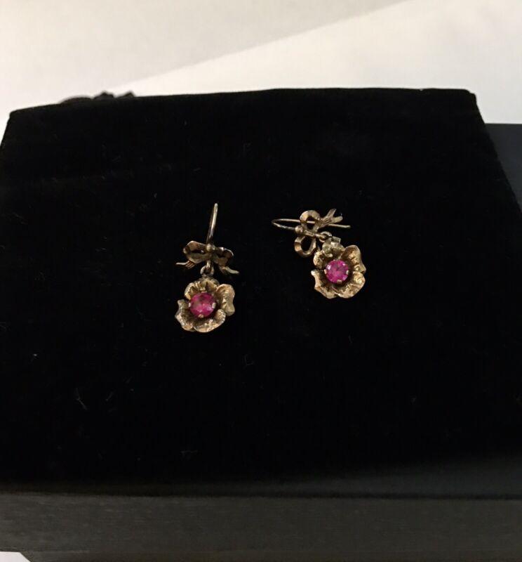 Antique Victorian 14k Yellow Gold Pink Sapphire - Diamond Flower Dangle Earrings