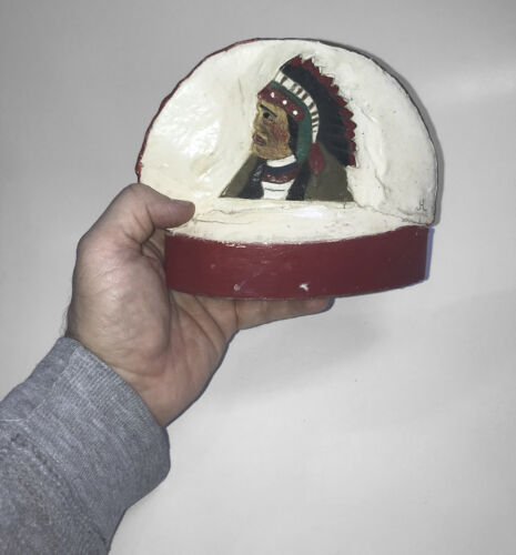 Big Vintage Folk Art Carved Conk Fungus Mushroom - Native American Indian Chief - $41.70