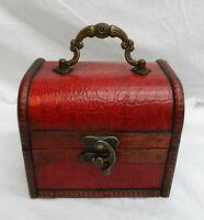 Red Mock Crododile Skin Wooden Pirate Chest / Cabin Trunk Trinket Box - (2) - emp - ebay.co.uk