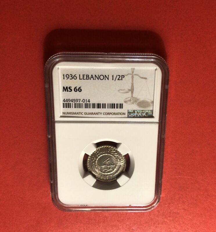 LEBANON--1936-2 1/2 PIASTERS,UNC GRADED COIN,CERTIFIED BY NGC MS-66..RARE.