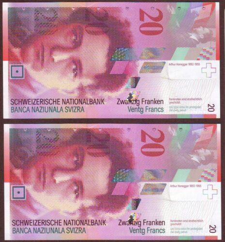 Switzerland   20 Franken / Francs  2003   Gem UNC  Consecutive pair