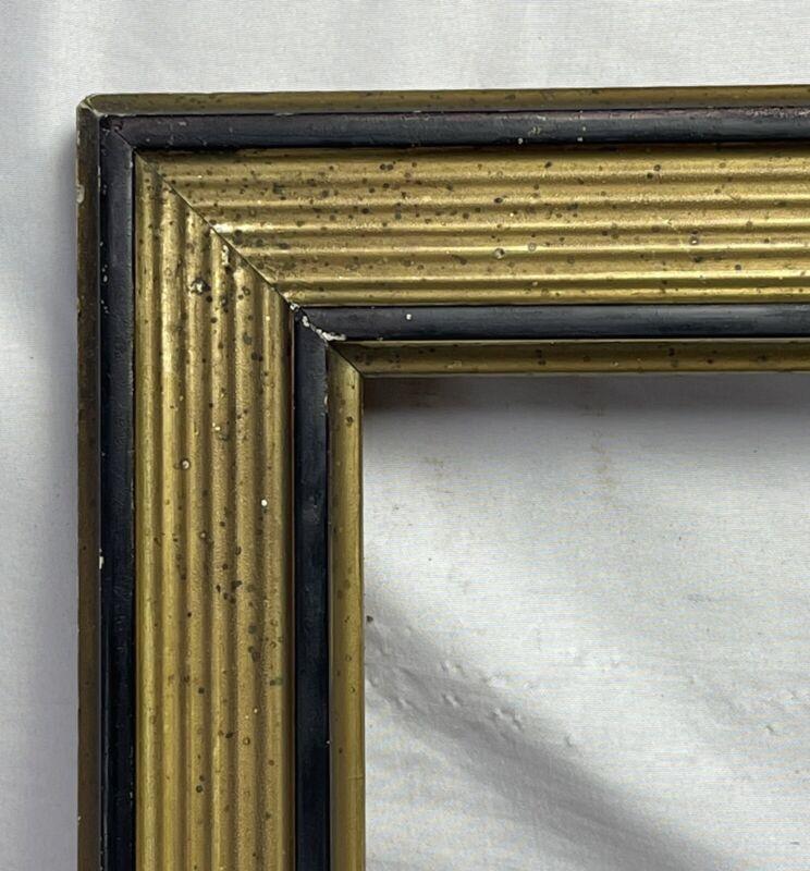 "ANTIQUE FITS 16"" x 22"" EBONIZED GOLD GILT GESSO ORNATE VICTORIAN PICTURE FRAME"