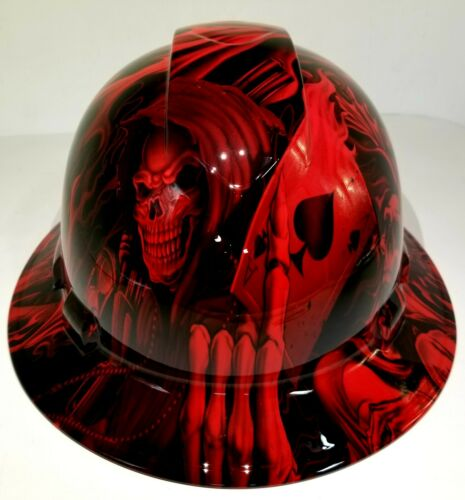 FULL BRIM Hard Hat custom hydro dipped, NEW CANDY RADIOACTIVE RED ACE OF SKULLS