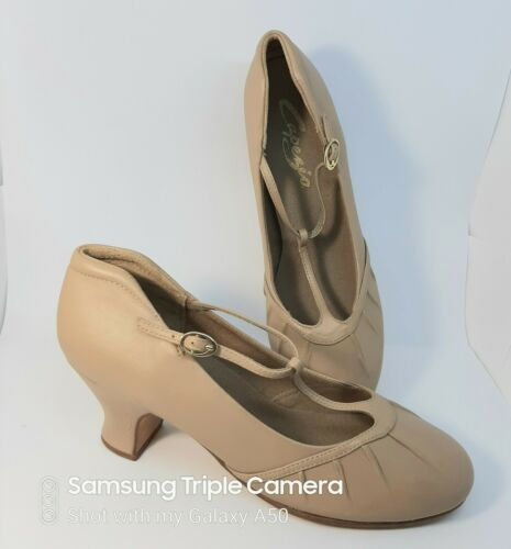 Capezio Dance Shoes T Strap Genuine Leather Caramel Size 9.5 wide  2.5