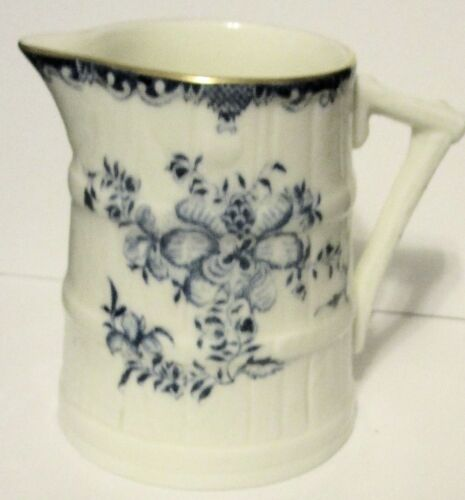 1900 Royal Worcester Blue and White Cream Pitcher, Gold Trim