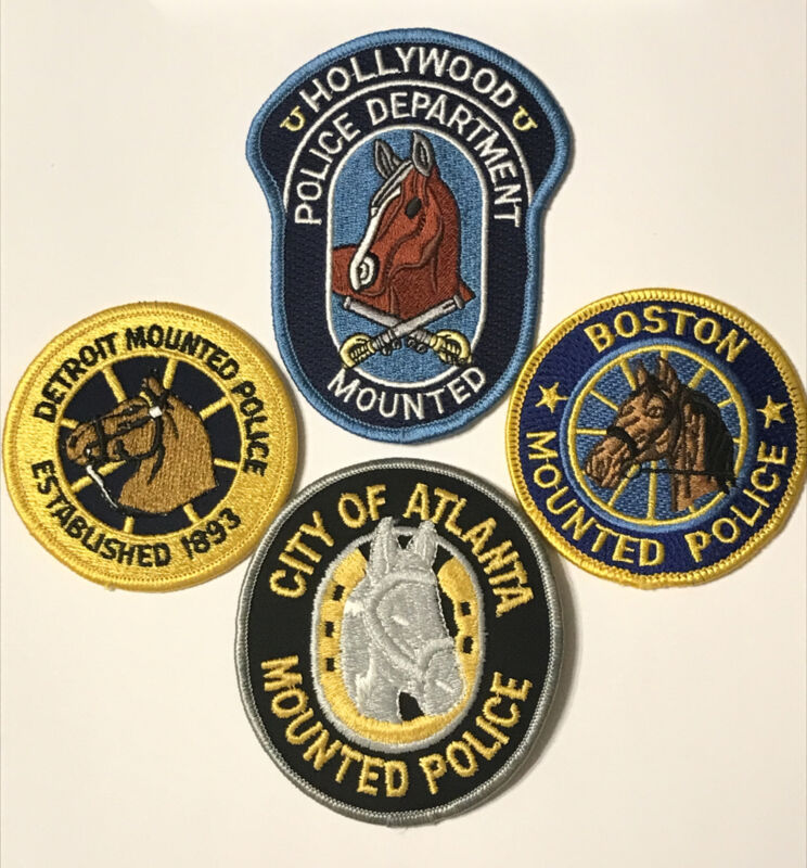 Lot of 4 Police Dept Mounted Unit Patches Detroit Atlanta Boston Hollywood