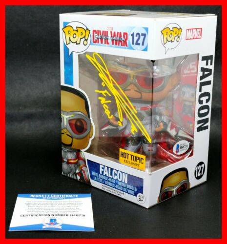 RARE Anthony Mackie Signed Autographed Avengers Falcon Funko POP Beckett BSA PSA