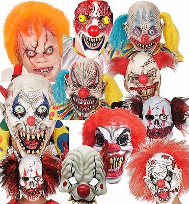 Adult Evil Circus Clown Mask Halloween Fancy Dress Costume - Evil Circus