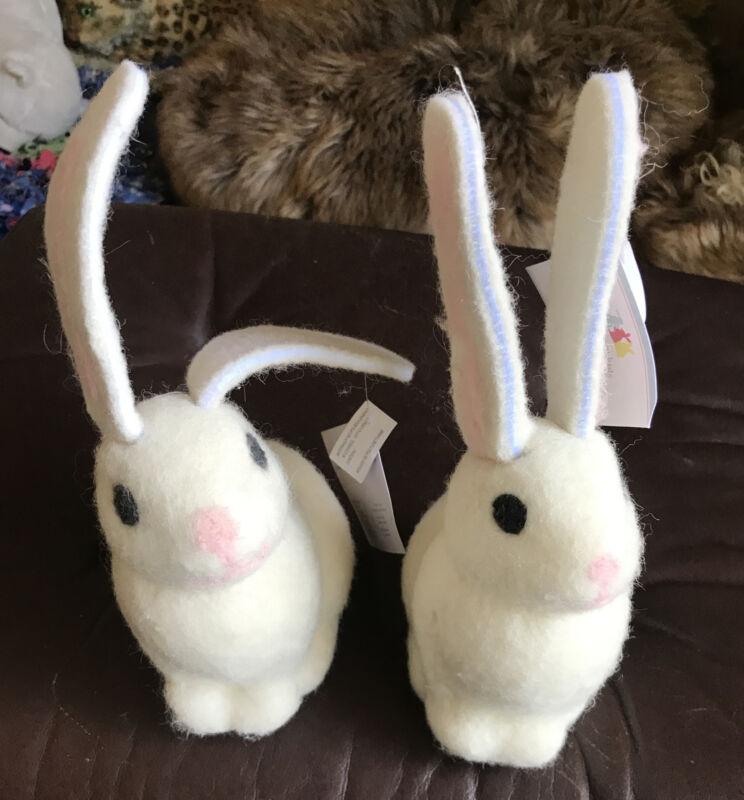2 Pottery Barn Kids Felted Wool Bunny Rabbits Decor New