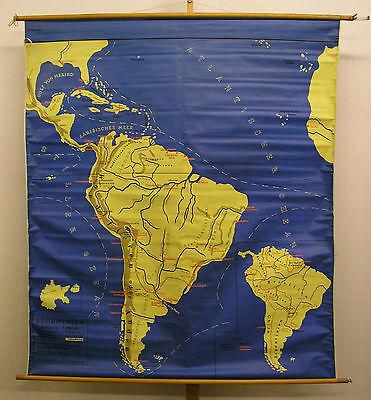 Schulwandkarte Wall Map America North South 159x181 ~ 1960