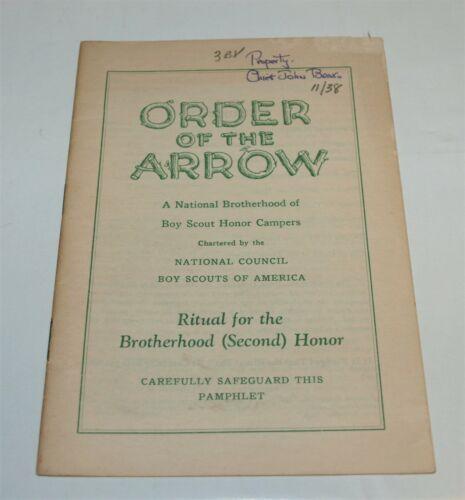 BSA - OA…RITUAL FOR THE BROTHERHOOD (SECOND) HONOR…1938 PRINTING