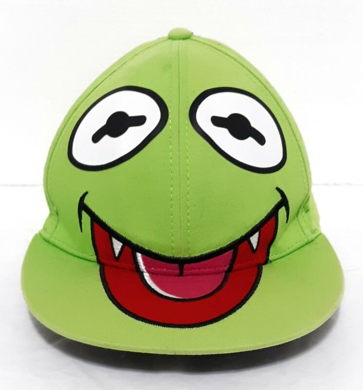 Muppets Kermit The Frog W/Fangs Embroidered Green Adjustable Snapback Hat Cap