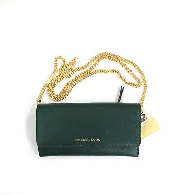 Michael Kors Continental Trifold Wallet on a Chain Crossbody Bag Clutch Green