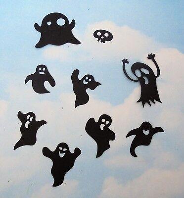 Die Cut  Halloween ghosts x 9 black silhouette topper card making