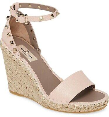 VALENTINO GARAVANI Rockstud Espadrilles Wedge Ankle Strap Sandals Shoes Nude 37