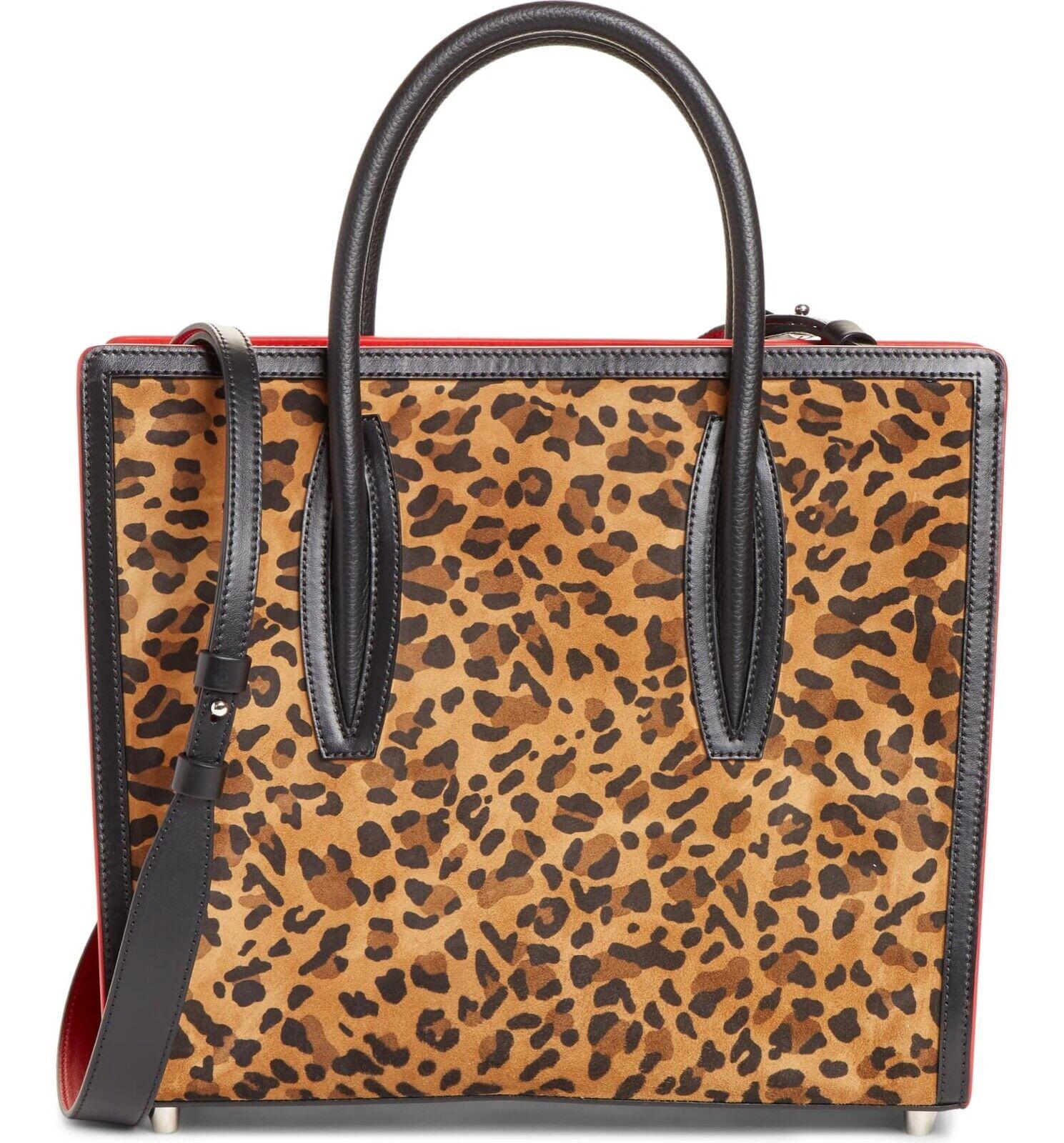 Christian Louboutin Paloma S Medium Black Red Brown Top Handle Tote Shoulder Bag
