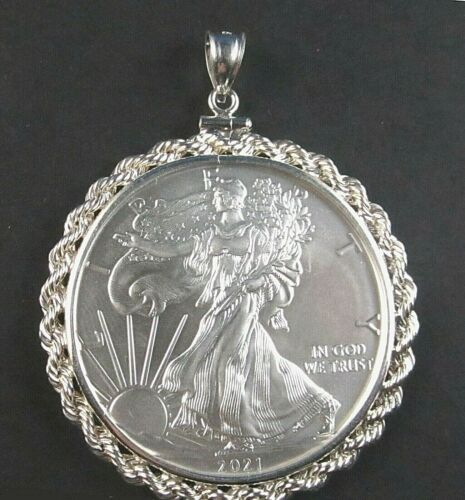 Coin Pendant 2021 .999 Fine American Silver Eagle Sterling Silver 3mm Rope Bezel
