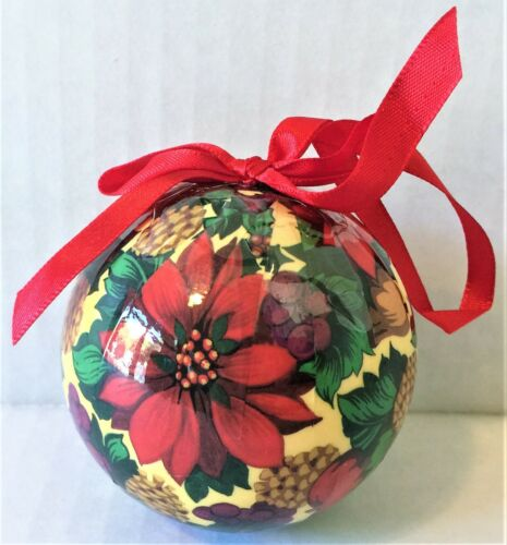 4 VINTAGE DECOUPAGE Poinsettia CHRISTMAS ORNAMENTS Mint Factory Sealed SHACKMAN