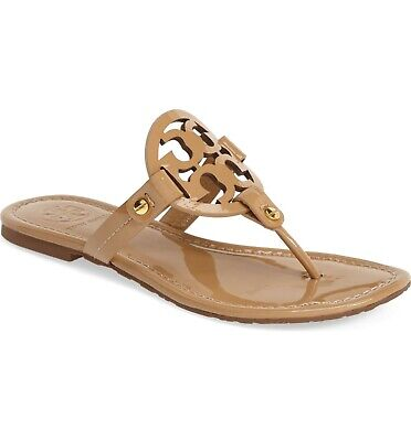 NEW Tory Burch Women's Sand Patent Leather Miller Logo Sandals - Size 6